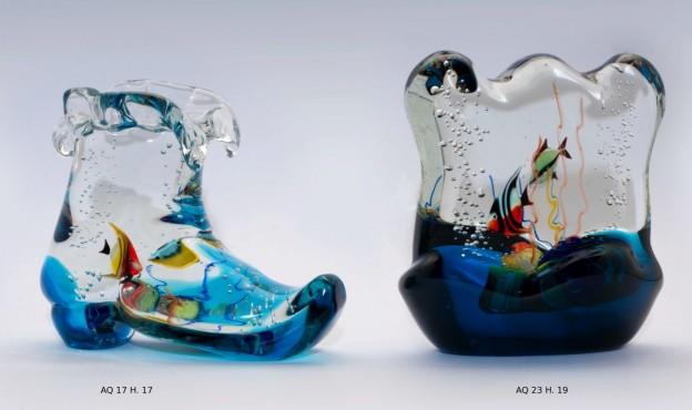 Produzione acquario artigianale veneziano AQ17 lavorazione vetro di Murano originale