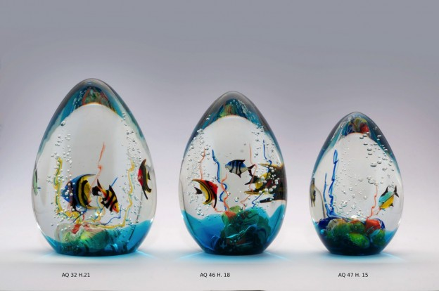 Produzione acquario artigianale veneziano AQ32 lavorazione vetro di Murano originale