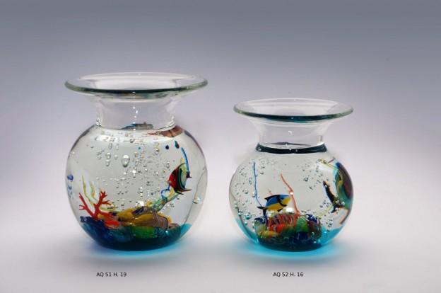 Produzione acquario artigianale veneziano AQ51 lavorazione vetro di Murano originale