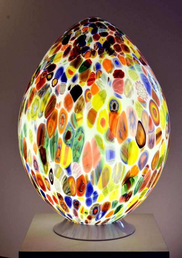 Produzione Lampada artigianale veneziana MUR03 lavorazione vetro di Murano originale