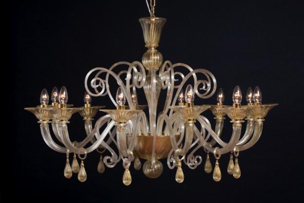 Produzione lampadario artigianale veneziano ALTHEA lavorazione vetro di Murano originale