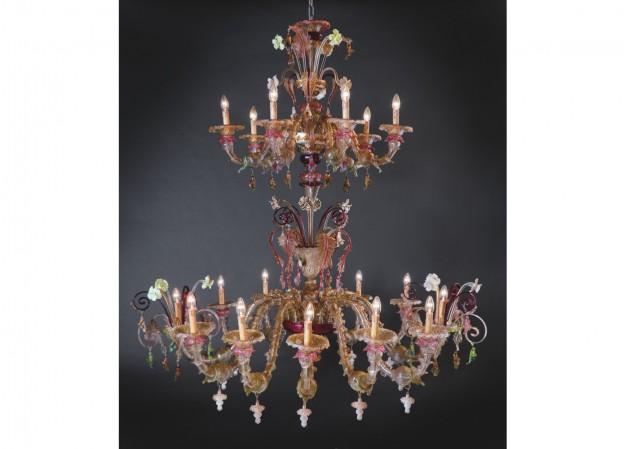 Produzione lampadario artigianale veneziano CADORO lavorazione vetro di Murano originale
