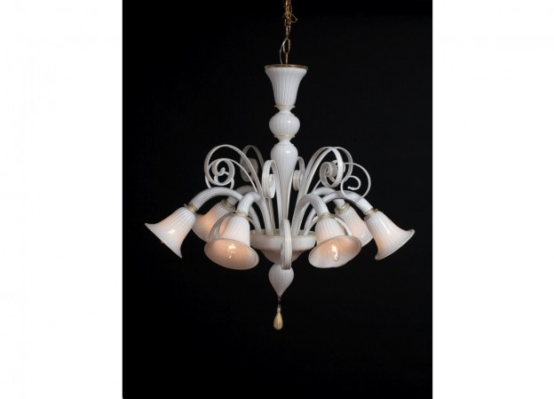 Produzione lampadario artigianale veneziano CLARO lavorazione vetro di Murano originale