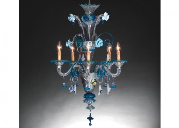 Produzione lampadario artigianale veneziano FOSCARI 1 lavorazione vetro di Murano originale