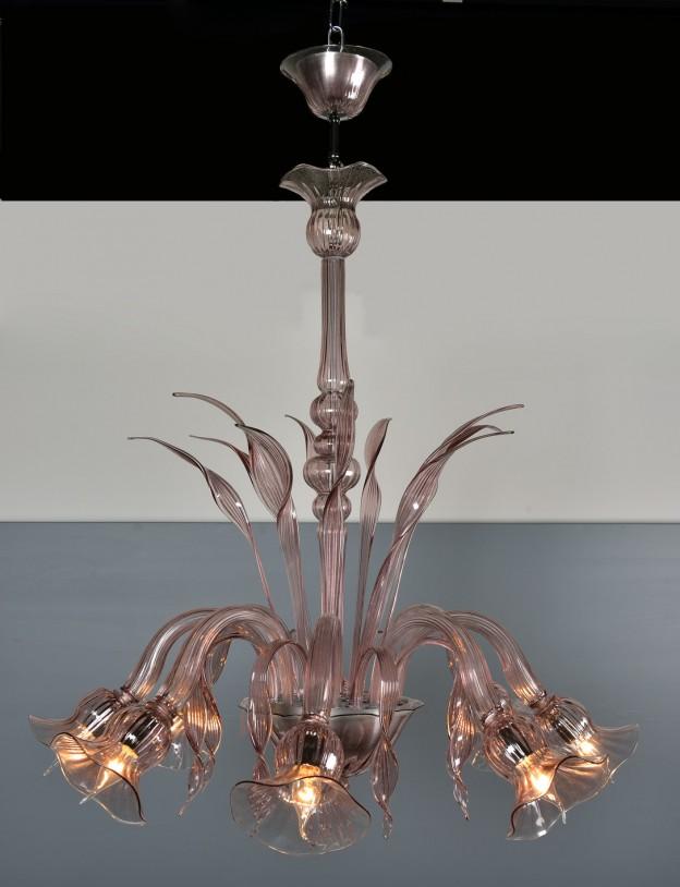 Produzione Lampadario artigianale veneziano MARINO lavorazione vetro di Murano originale