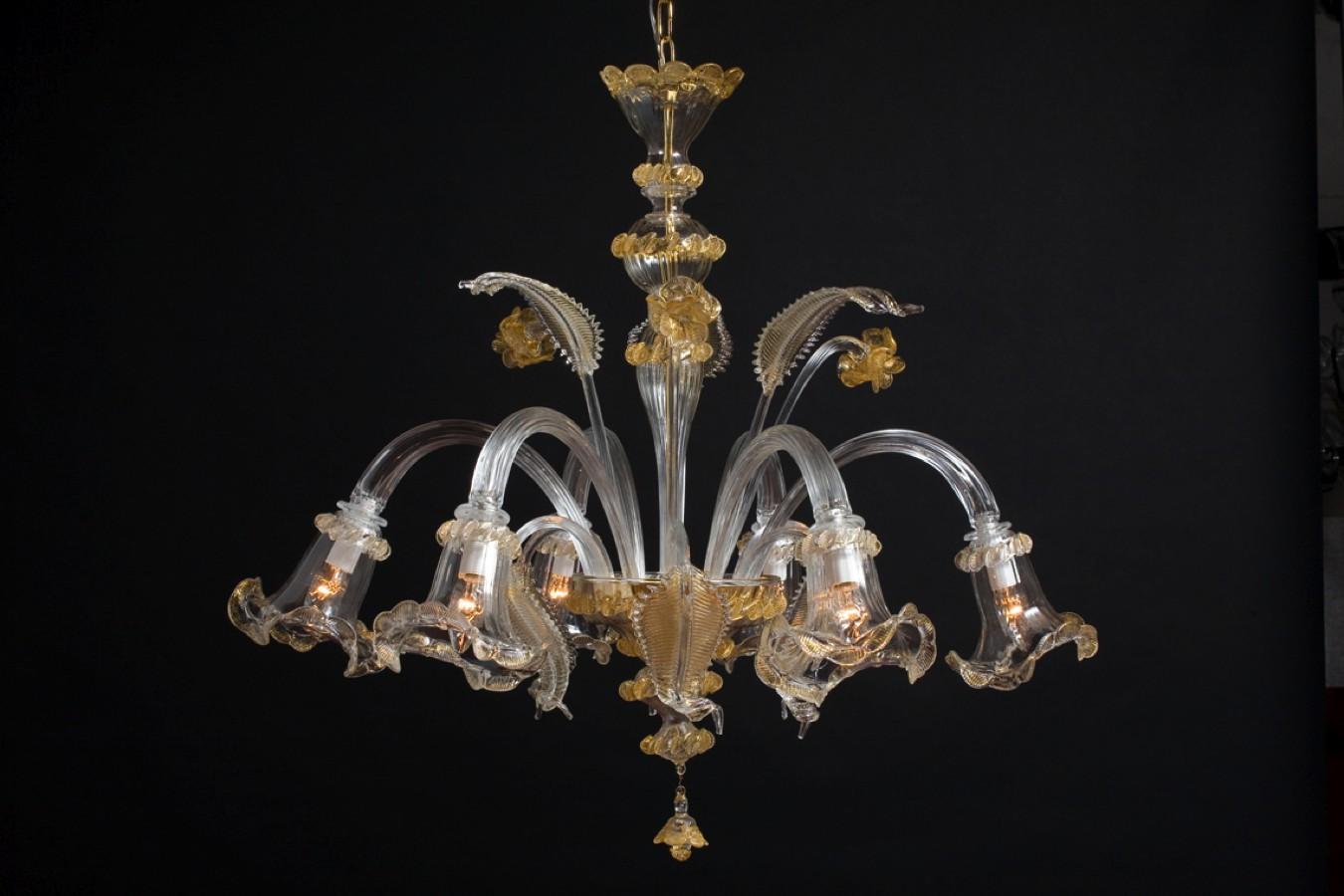 Produzione lampadario artigianale veneziano NINFEA lavorazione vetro ...