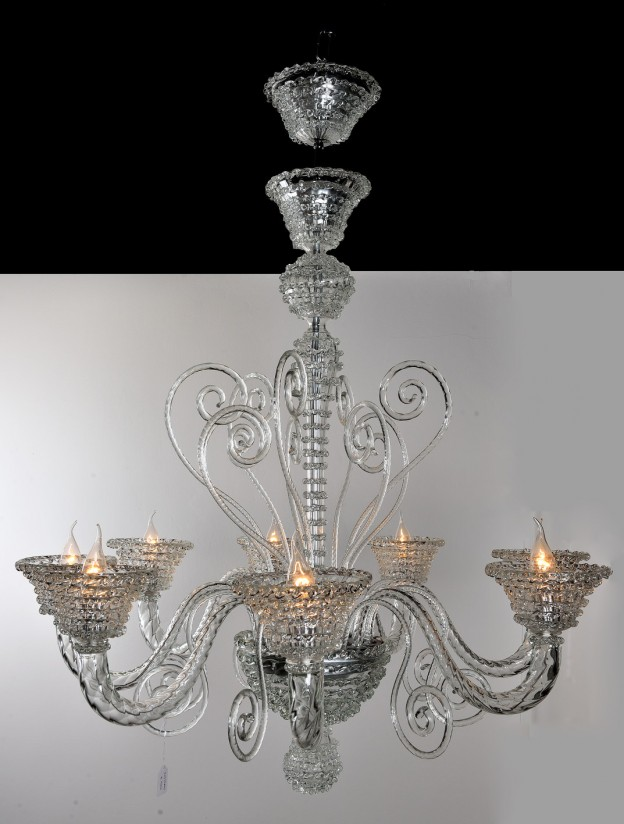 Produzione Lampadario artigianale veneziano ROSTRATO lavorazione vetro ...