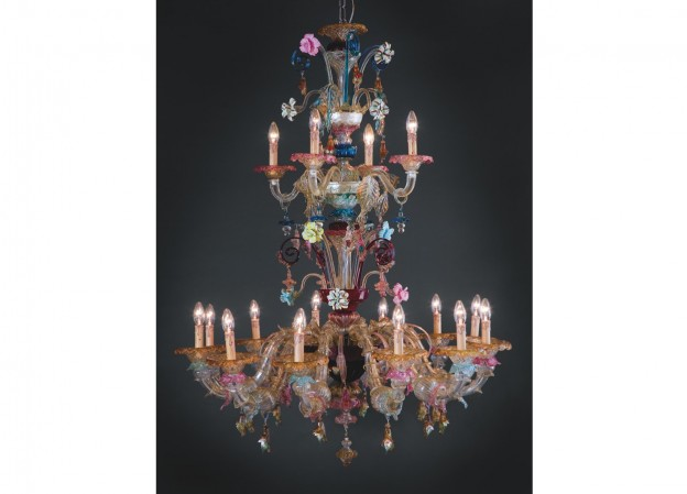 Produzione lampadario artigianale veneziano VENDRAMIN lavorazione vetro di Murano originale