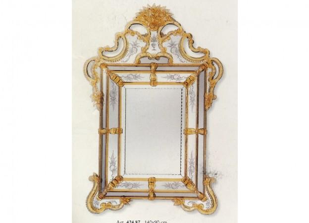 Produzione specchio artigianale veneziano SP424 lavorazione vetro di Murano originale