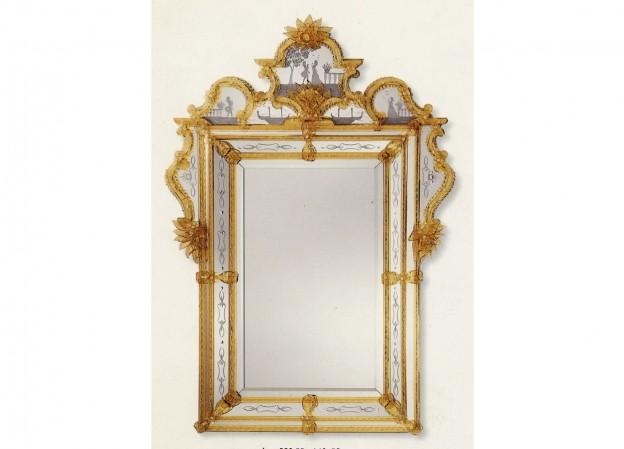 Produzione specchio artigianale veneziano SP550 lavorazione vetro di Murano originale