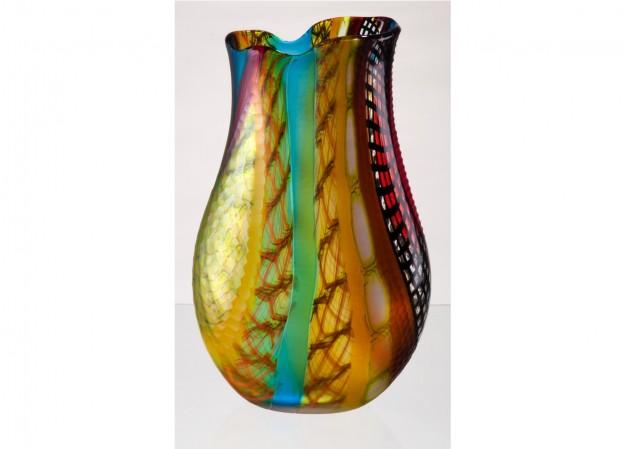 Produzione vaso molato battuto veneziano CR1435 lavorazione vetro di Murano originale