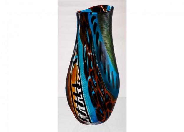 Produzione vaso molato battuto veneziano CR1439 lavorazione vetro di Murano originale