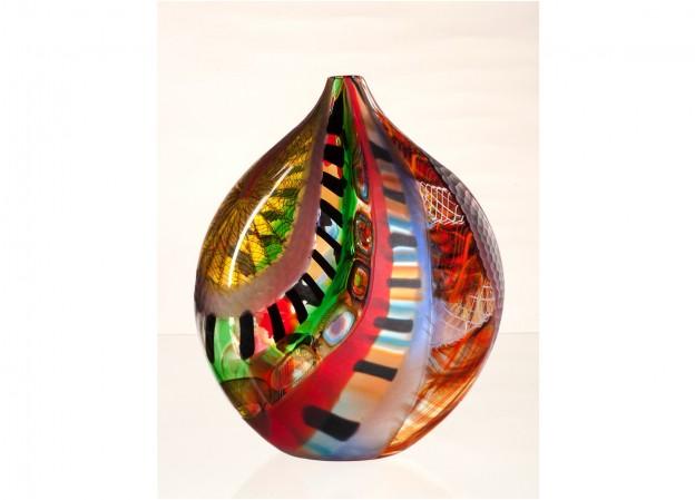 Produzione vaso molato battuto veneziano CR1458 lavorazione vetro di Murano originale