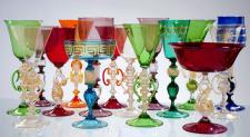 Produzione calici artigianali veneziani Antichi Angeli lavorazione vetro di Murano originale