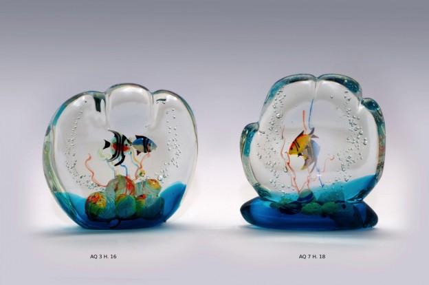 Produzione acquario artigianale veneziano AQ03 lavorazione vetro di Murano originale