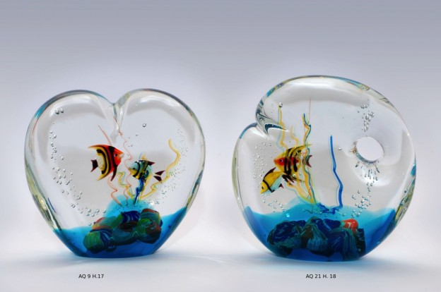 Produzione acquario artigianale veneziano AQ09 lavorazione vetro di Murano originale
