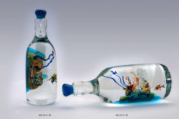 Produzione acquario artigianale veneziano AQ24 lavorazione vetro di Murano originale