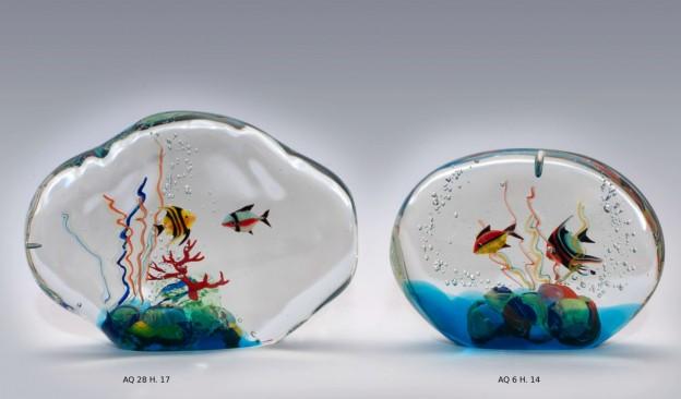 Produzione acquario artigianale veneziano AQ28 lavorazione vetro di Murano originale
