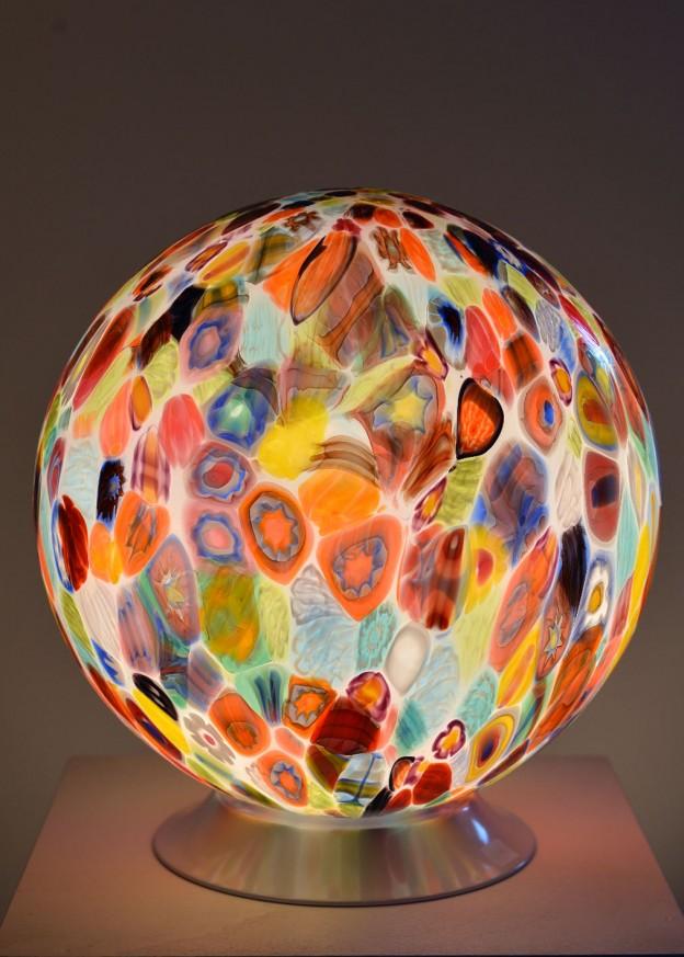 Produzione lampada artigianale veneziana MUR05 lavorazione vetro di Murano originale