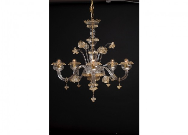Produzione lampadario artigianale veneziano ASFODELO lavorazione vetro di Murano originale