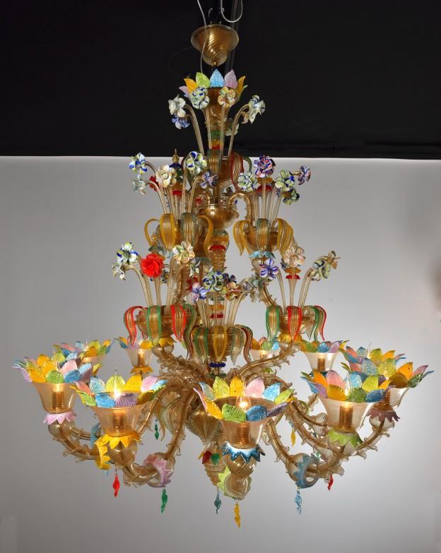 Produzione Lampadario artigianale veneziano AURORA lavorazione vetro di Murano originale