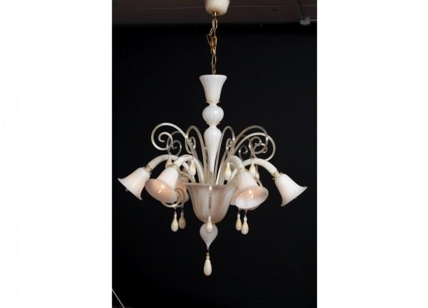 Produzione lampadario artigianale veneziano BLANCO lavorazione vetro di Murano originale