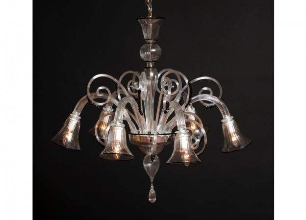 Produzione lampadario artigianale veneziano CALLA lavorazione vetro di Murano originale