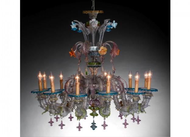 Produzione lampadario artigianale veneziano CAMERLENGO 4 lavorazione vetro di Murano originale