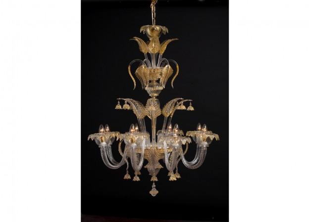Produzione lampadario artigianale veneziano CIMIERO lavorazione vetro di Murano originale
