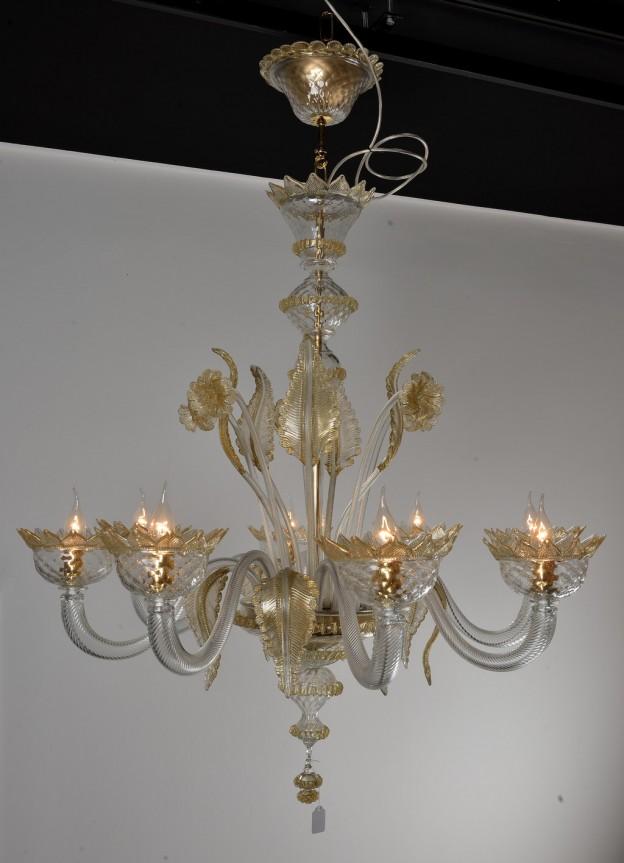 Produzione Lampadario artigianale veneziano CLASSICO lavorazione vetro di Murano originale