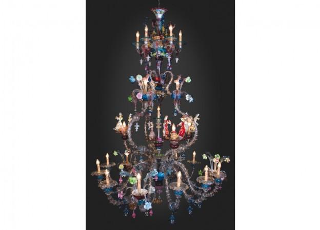 Produzione lampadario artigianale veneziano DUCALE lavorazione vetro di Murano originale
