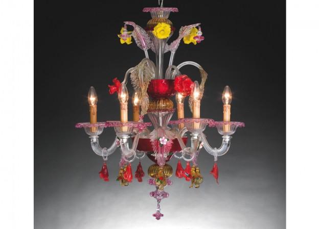Produzione lampadario artigianale veneziano FOSCARI 2 lavorazione vetro di Murano originale