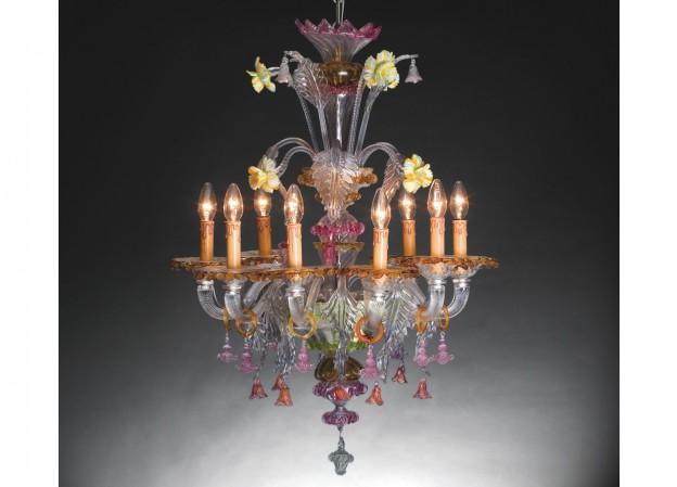 Produzione lampadario artigianale veneziano FOSCARI 3 lavorazione vetro di Murano originale