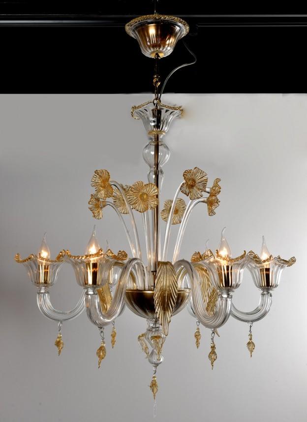 Produzione Lampadario artigianale veneziano GERANIO lavorazione vetro di Murano originale