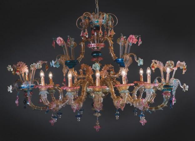 Produzione lampadario artigianale veneziano GONDOLA lavorazione vetro di Murano originale