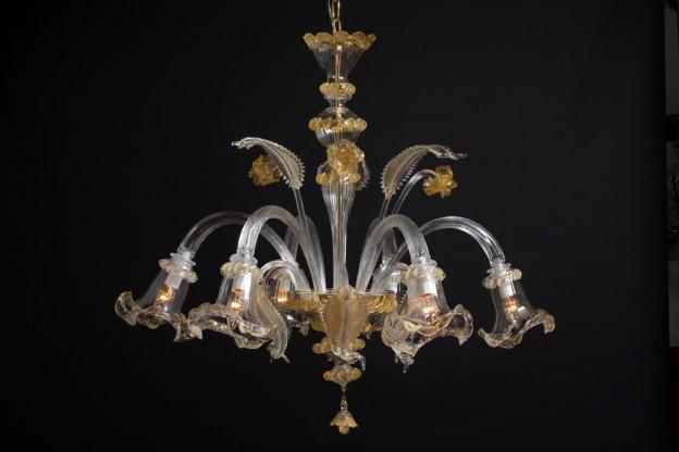 Produzione lampadario artigianale veneziano NINFEA lavorazione vetro di Murano originale