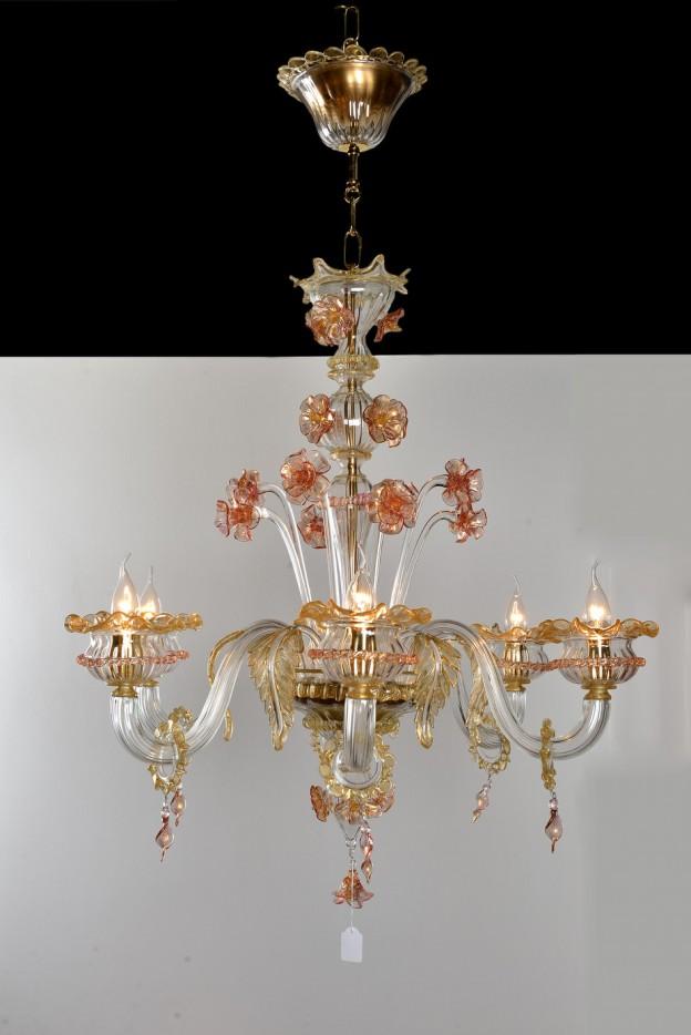 Produzione Lampadario artigianale veneziano PRIMULA lavorazione vetro di Murano originale