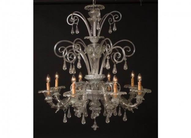 Produzione lampadario artigianale veneziano REZZONICO lavorazione vetro di Murano originale