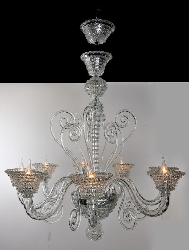 Produzione Lampadario artigianale veneziano ROSTRATO lavorazione vetro di Murano originale
