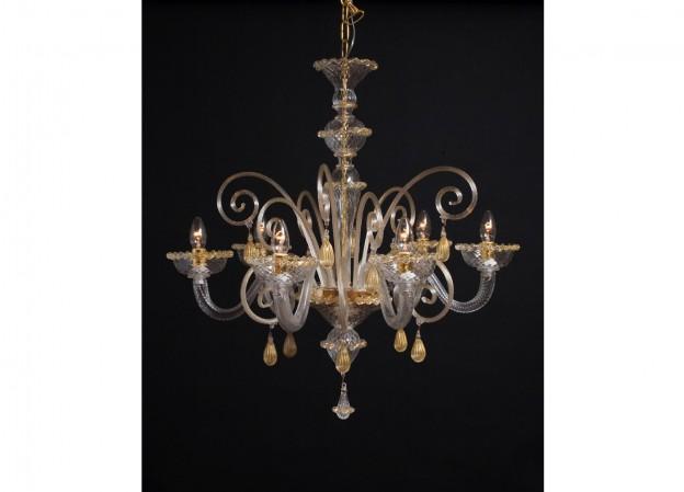 Produzione lampadario artigianale veneziano SATURNO 2 lavorazione vetro di Murano originale