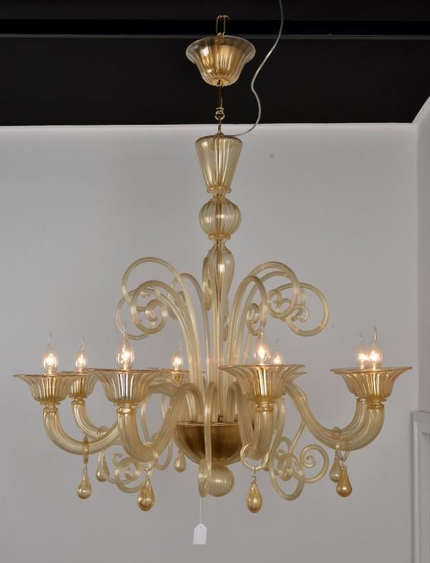 Produzione Lampadario artigianale veneziano SATURNO lavorazione vetro di Murano originale