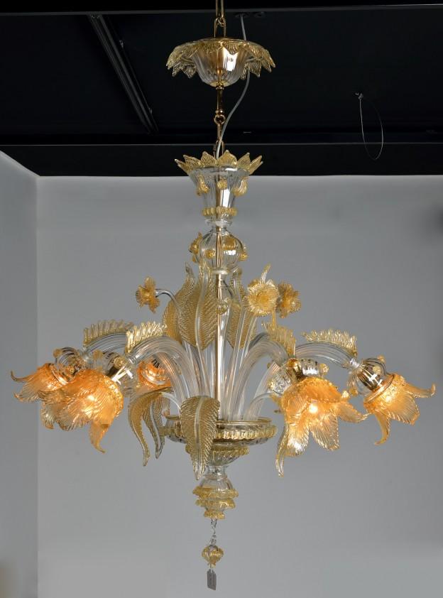 Produzione Lampadario artigianale veneziano SECOLO lavorazione vetro di Murano originale