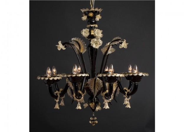 Produzione lampadario artigianale veneziano URANO lavorazione vetro di Murano originale