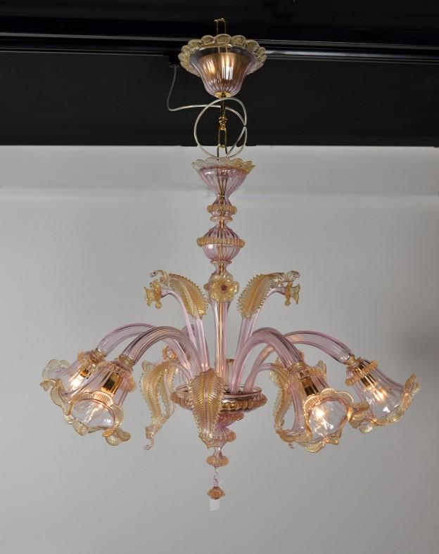 Produzione Lampadario artigianale veneziano VIOLA lavorazione vetro di Murano originale
