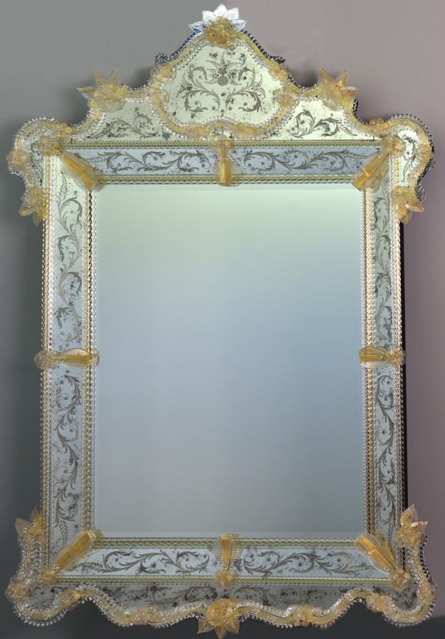 Produzione Specchio artigianale veneziano SP04 lavorazione vetro di Murano originale