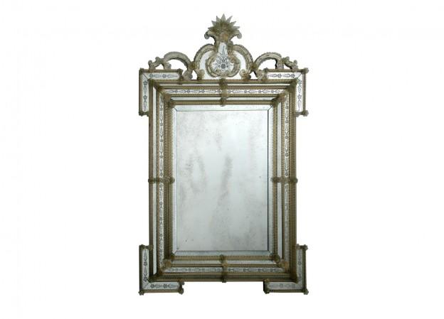 Produzione specchio artigianale veneziano SP183 lavorazione vetro di Murano originale