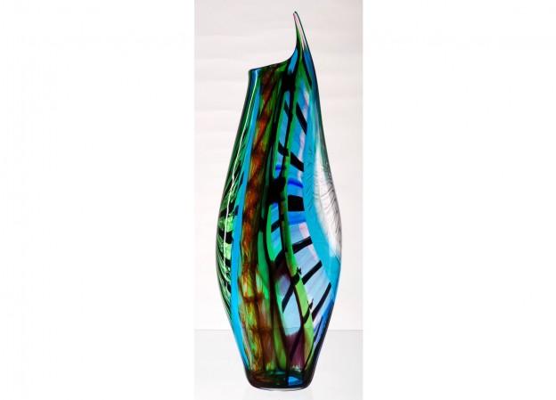 Produzione vaso molato battuto veneziano CR1442B lavorazione vetro di Murano originale