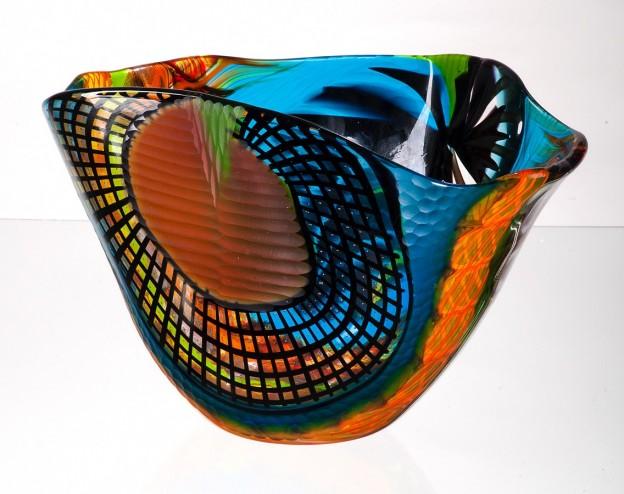 Produzione vaso molato battuto veneziano CR1462 lavorazione vetro di Murano originale