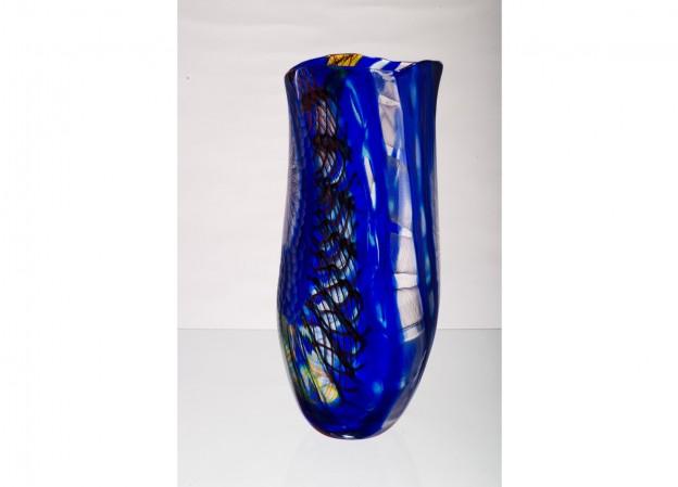 Produzione vaso molato battuto veneziano CR1466 lavorazione vetro di Murano originale