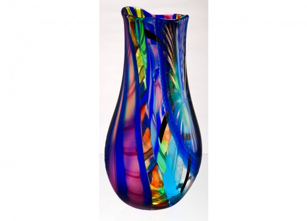 Produzione vaso molato battuto veneziano CR1469 lavorazione vetro di Murano originale